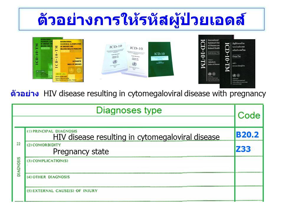 ตัวอย่าง HIV disease resulting in cytomegaloviral disease with pregnancy HIV disease resulting in cytomegaloviral disease Pregnancy state B20.2 Z33 ตั