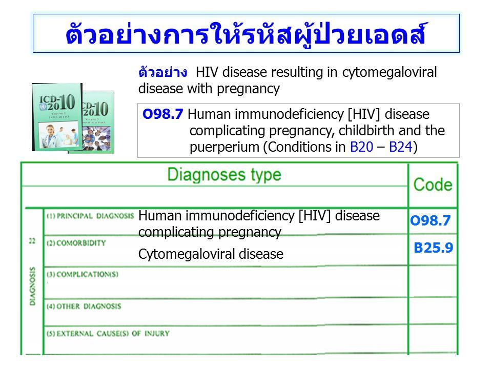 Human immunodeficiency [HIV] disease complicating pregnancy Cytomegaloviral disease O98.7 B25.9 ตัวอย่างการให้รหัสผู้ป่วยเอดส์ ตัวอย่าง HIV disease re