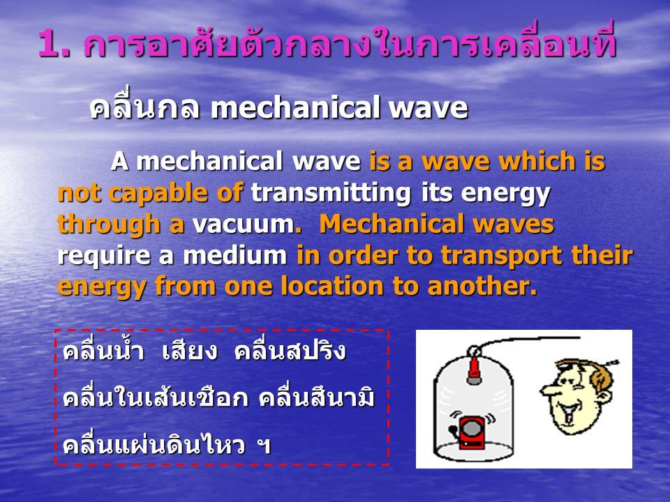 1. การอาศัยตัวกลางในการเคลื่อนที่ A mechanical wave is a wave which is not capable of transmitting its energy through a vacuum. Mechanical waves requi
