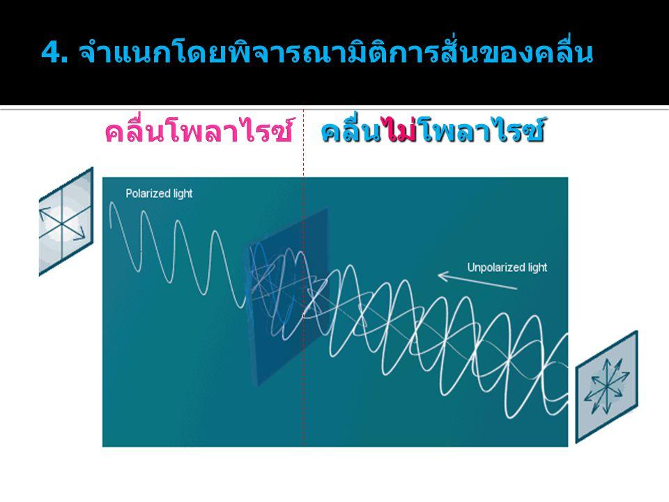 คลื่นไม่โพลาไรซ์ 4. จำแนกโดยพิจารณามิติการสั่นของคลื่น