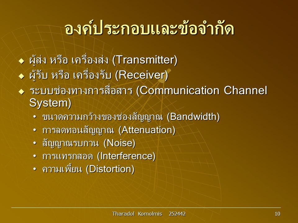 Tharadol Komolmis 252442 10 องค์ประกอบและข้อจำกัด  ผู้ส่ง หรือ เครื่องส่ง (Transmitter)  ผู้รับ หรือ เครื่องรับ (Receiver)  ระบบช่องทางการสื่อสาร (