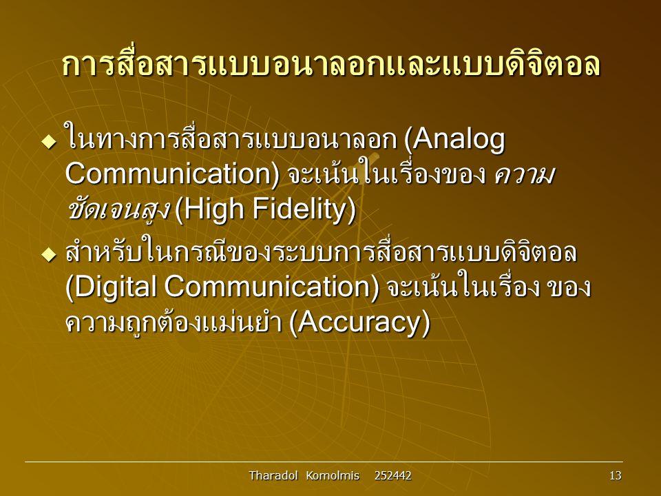 Tharadol Komolmis 252442 13 การสื่อสารแบบอนาลอกและแบบดิจิตอล  ในทางการสื่อสารแบบอนาลอก (Analog Communication) จะเน้นในเรื่องของ ความ ชัดเจนสูง (High