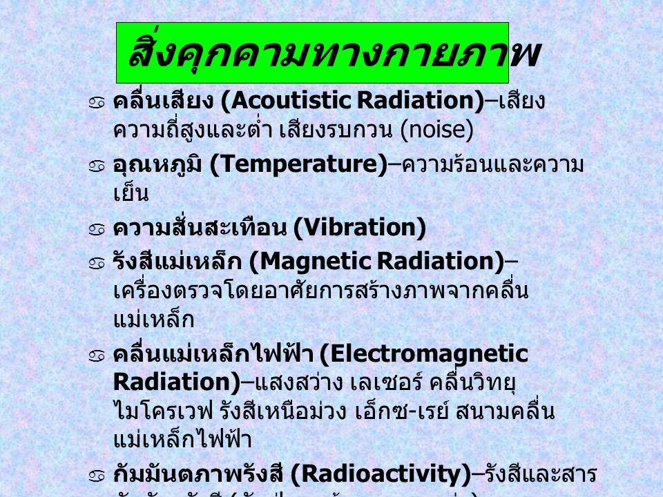 สิ่งคุกคามทางกายภาพ  คลื่นเสียง (Acoutistic Radiation)– เสียง ความถี่สูงและต่ำ เสียงรบกวน (noise)  อุณหภูมิ (Temperature)– ความร้อนและความ เย็น  คว