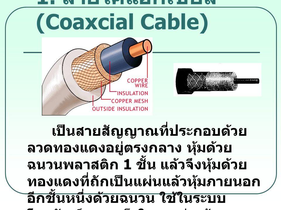 1. สายโคแอกเชียล (Coaxcial Cable) เป็นสายสัญญาณที่ประกอบด้วย ลวดทองแดงอยู่ตรงกลาง หุ้มด้วย ฉนวนพลาสติก 1 ชั้น แล้วจึงหุ้มด้วย ทองแดงที่ถักเป็นแผ่นแล้ว