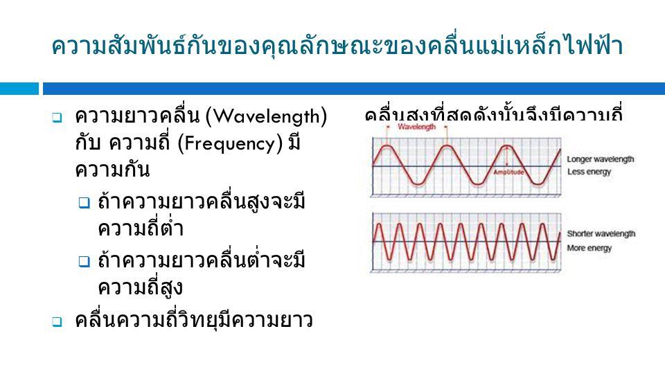 ความสัมพันธ์กันของคุณลักษณะของคลื่นแม่เหล็กไฟฟ้า  ความยาวคลื่น (Wavelength) กับ ความถี่ (Frequency) มี ความกัน  ถ้าความยาวคลื่นสูงจะมี ความถี่ต่ำ  ถ้าความยาวคลื่นต่ำจะมี ความถี่สูง  คลื่นความถี่วิทยุมีความยาว คลื่นสูงที่สุดดังนั้นจึงมีความถี่ ต่ำที่สุด จึงมีความเหมาะสมที่ จะนำมาใช้ในการสื่อสารบนผิว โลก