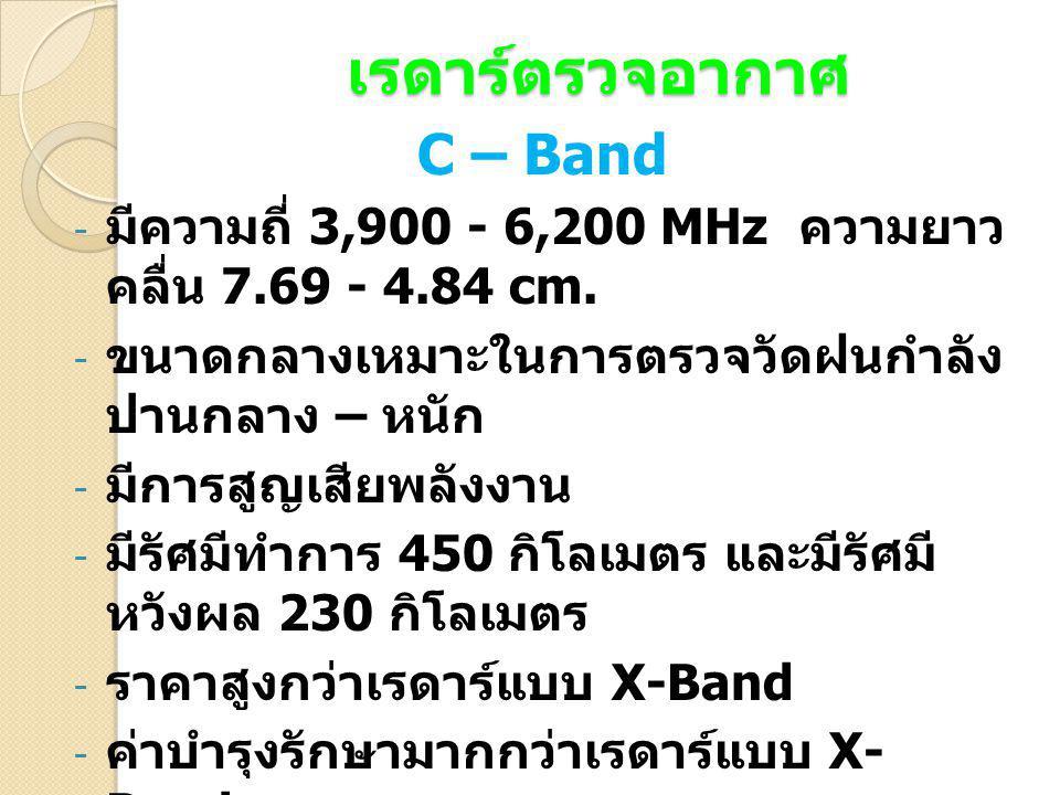 S – Band - มีความถี่ 1,550 - 3,900 MHz ความยาว คลื่น 19.3 - 7.69 cm.