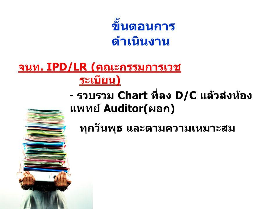 จนท. IPD/LR ( คณะกรรมการเวช ระเบียน ) - รวบรวม Chart ที่ลง D/C แล้วส่งห้อง แพทย์ Auditor( ผอก ) ทุกวันพุธ และตามความเหมาะสม ขั้นตอนการ ดำเนินงาน