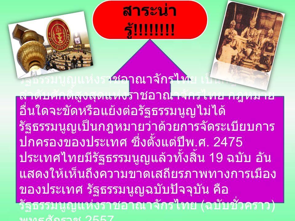 สาระน่า รู้ !!!!!!!! รัฐธรรมนูญแห่งราชอาณาจักรไทย เป็นกฎหมาย ลำดับศักดิ์สูงสุดแห่งราชอาณาจักรไทย กฎหมาย อื่นใดจะขัดหรือแย้งต่อรัฐธรรมนูญไม่ได้ รัฐธรรม