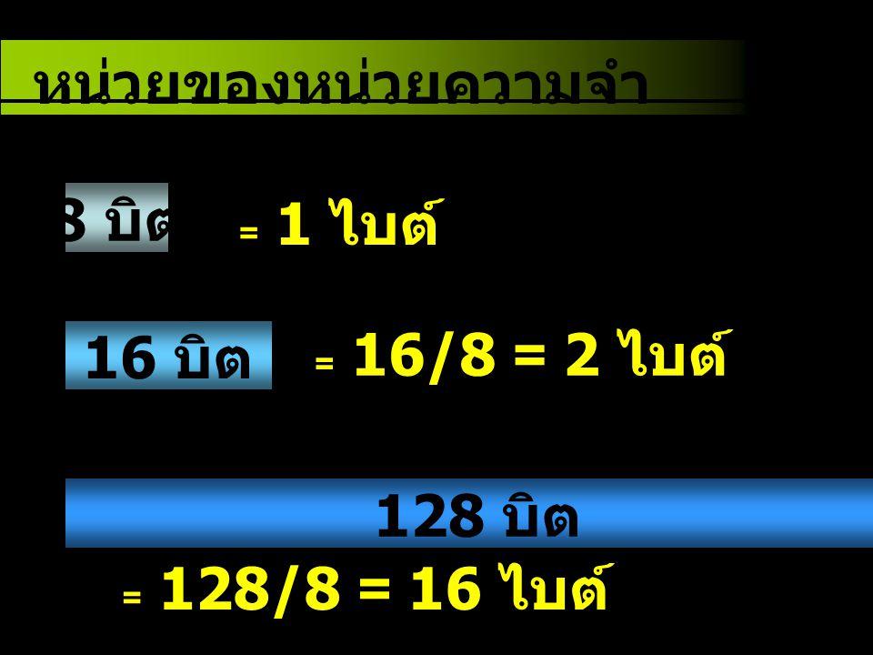 8 บิต หน่วยของหน่วยความจำ 16 บิต = 1 ไบต์ = 16/8 = 2 ไบต์ = 128/8 = 16 ไบต์ 128 บิต
