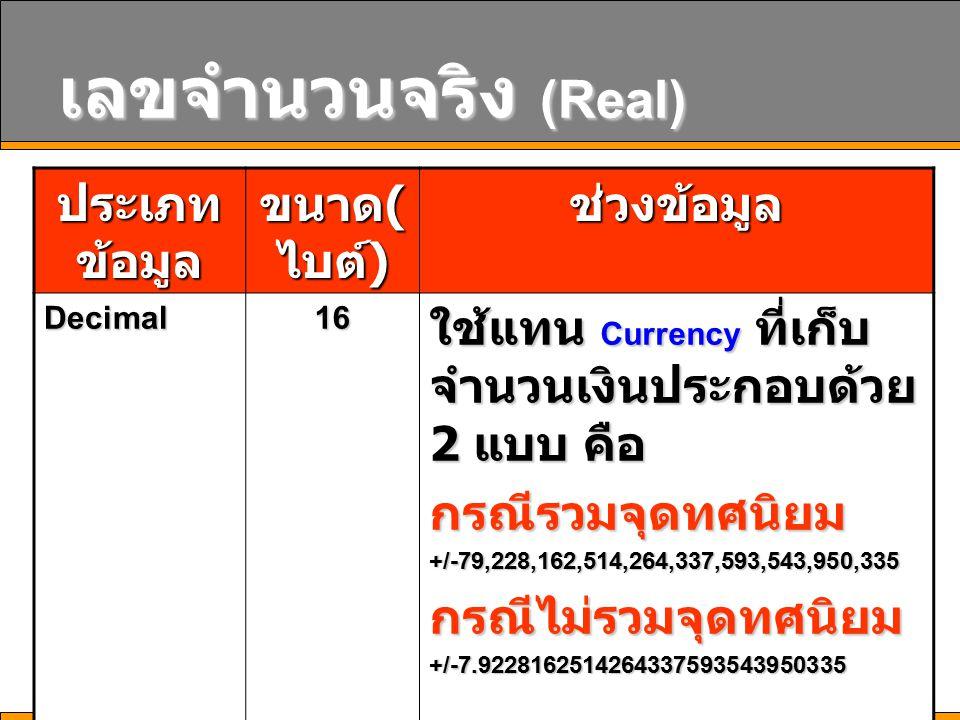 เลขจำนวนจริง (Real) ประเภท ข้อมูล ขนาด ( ไบต์ ) ช่วงข้อมูล Decimal16 ใช้แทน Currency ที่เก็บ จำนวนเงินประกอบด้วย 2 แบบ คือ กรณีรวมจุดทศนิยม+/-79,228,162,514,264,337,593,543,950,335กรณีไม่รวมจุดทศนิยม+/-7.9228162514264337593543950335 มีความถูกต้องถึง 28 ตำแหน่ง