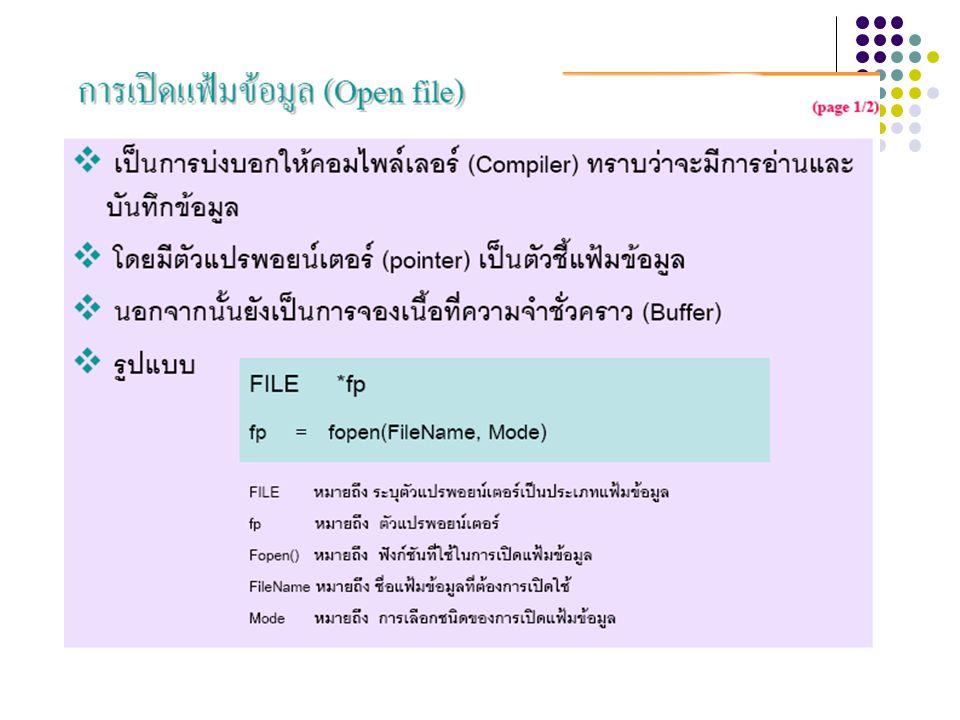 การเปลี่ยนชื่อไฟล์ การเปลี่ยนชื่อไฟล์สามารถทำได้ โดยเรียกใช้ คำสั่ง rename() เพื่อเปลี่ยนชื่อโดยมีรูปแบบ การเรียกใช้คำสั่งดังนี้ rename( ชื่อไฟล์เดิม , ชื่อไฟล์ ใหม่ ); ตัวอย่าง เช่น rename( menu.dat , content.dat ); rename( c:/doc/data.txt , d:/lab/test.txt );