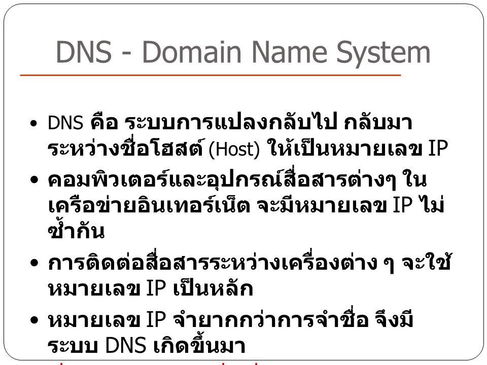 DNS - Domain Name System DNS คือ ระบบการแปลงกลับไป กลับมา ระหว่างชื่อโฮสต์ (Host) ให้เป็นหมายเลข IP คอมพิวเตอร์และอุปกรณ์สื่อสารต่างๆ ใน เครือข่ายอินเ