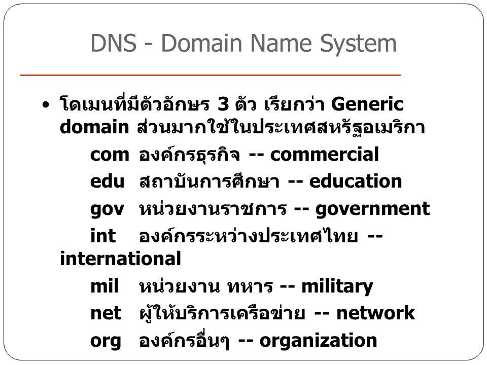 โดเมนที่มีตัวอักษร 3 ตัว เรียกว่า Generic domain ส่วนมากใช้ในประเทศสหรัฐอเมริกา com องค์กรธุรกิจ -- commercial edu สถาบันการศึกษา -- education gov หน่