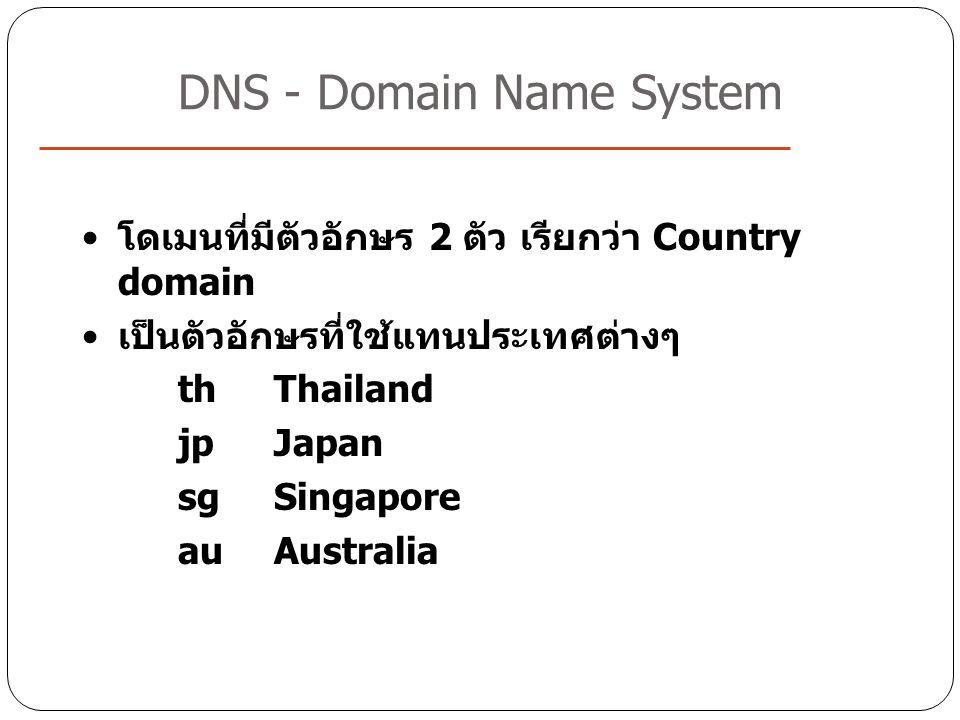 DNS - Domain Name System โดเมนที่มีตัวอักษร 2 ตัว เรียกว่า Country domain เป็นตัวอักษรที่ใช้แทนประเทศต่างๆ thThailand jpJapan sgSingapore auAustralia