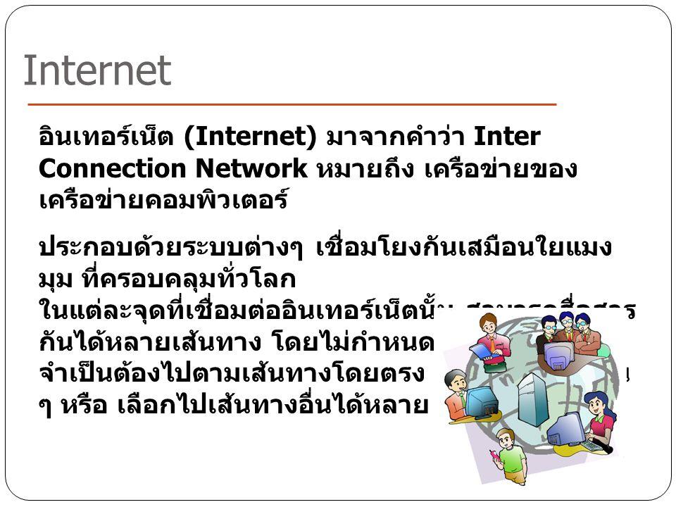 อินเทอร์เน็ต (Internet) มาจากคำว่า Inter Connection Network หมายถึง เครือข่ายของ เครือข่ายคอมพิวเตอร์ ประกอบด้วยระบบต่างๆ เชื่อมโยงกันเสมือนใยแมง มุม