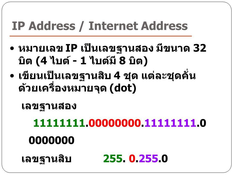 IP Address / Internet Address หมายเลข IP เป็นเลขฐานสอง มีขนาด 32 บิต (4 ไบต์ - 1 ไบต์มี 8 บิต ) เขียนเป็นเลขฐานสิบ 4 ชุด แต่ละชุดคั่น ด้วยเครื่องหมายจ