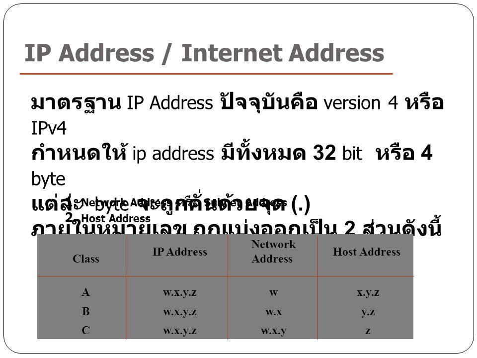 IP Address / Internet Address มาตรฐาน IP Address ปัจจุบันคือ version 4 หรือ IPv4 กำหนดให้ ip address มีทั้งหมด 32 bit หรือ 4 byte แต่ล่ะ byte จะถูกคั่