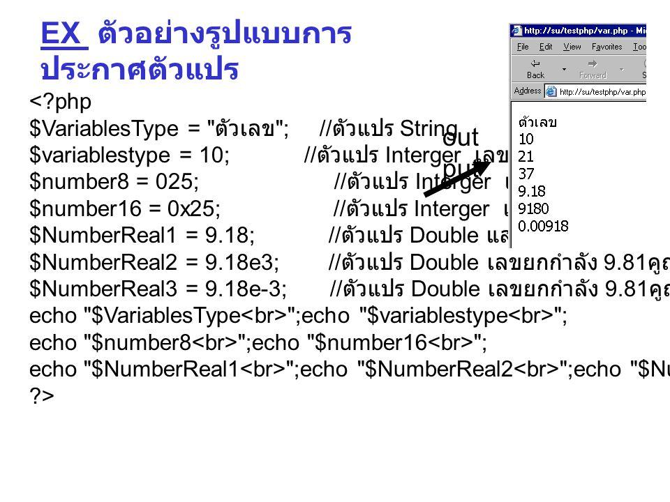 <?php $VariablesType = ตัวเลข ; // ตัวแปร String $variablestype = 10; // ตัวแปร Interger เลขฐาน 10 $number8 = 025; // ตัวแปร Interger เลขฐาน 8 $number16 = 0x25; // ตัวแปร Interger เลขฐาน 16 $NumberReal1 = 9.18; // ตัวแปร Double แสดงจุดทศนิยม $NumberReal2 = 9.18e3; // ตัวแปร Double เลขยกกำลัง 9.81 คูณ 10 ยกกำลัง 3 $NumberReal3 = 9.18e-3; // ตัวแปร Double เลขยกกำลัง 9.81 คูณ 10 ยกกำลังลบ 3 echo $VariablesType ;echo $variablestype ; echo $number8 ;echo $number16 ; echo $NumberReal1 ;echo $NumberReal2 ;echo $NumberReal3 ; ?> EX ตัวอย่างรูปแบบการ ประกาศตัวแปร out put
