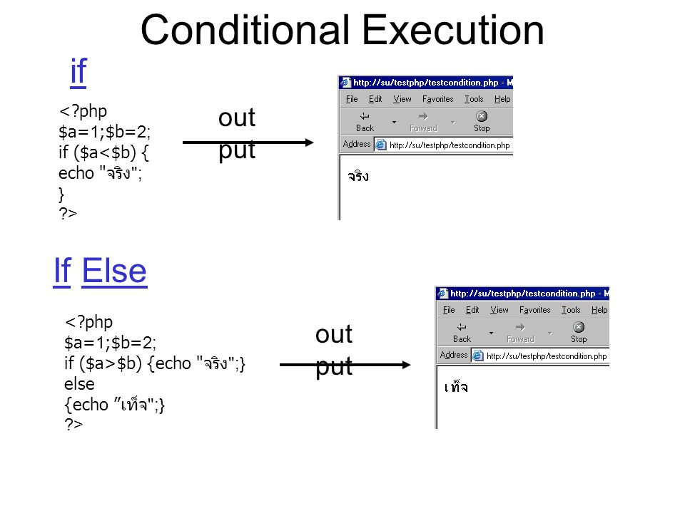 Conditional Execution if < php $a=1;$b=2; if ($a<$b) { echo จริง ; } > out put If Else < php $a=1;$b=2; if ($a>$b) {echo จริง ;} else {echo เท็จ ;} > out put