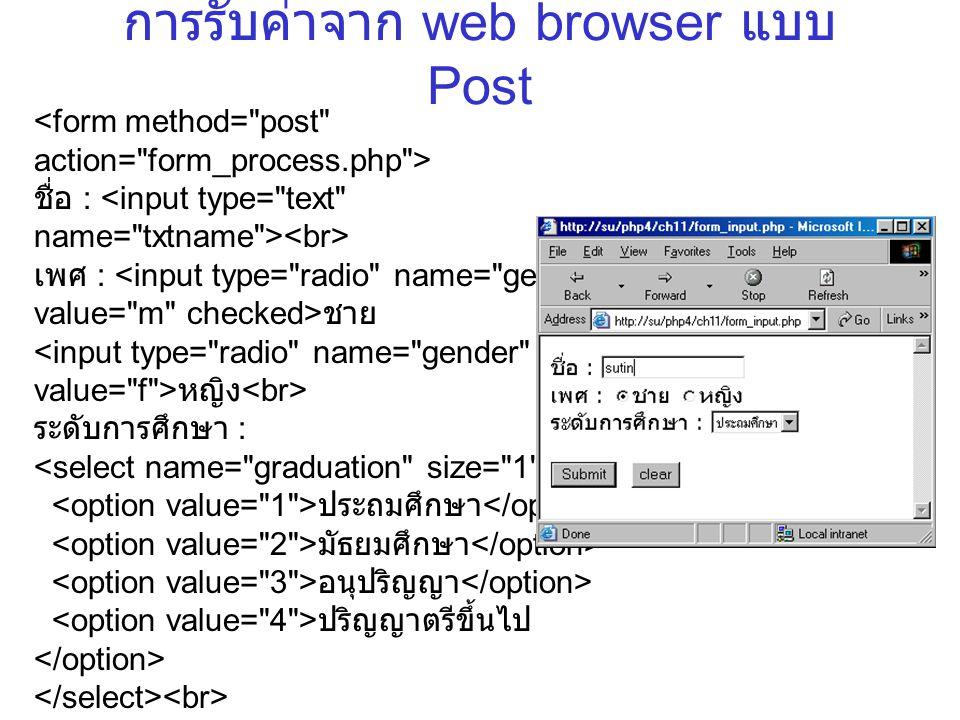 การรับค่าจาก web browser แบบ Post ชื่อ : เพศ : ชาย หญิง ระดับการศึกษา : ประถมศึกษา มัธยมศึกษา อนุปริญญา ปริญญาตรีขึ้นไป