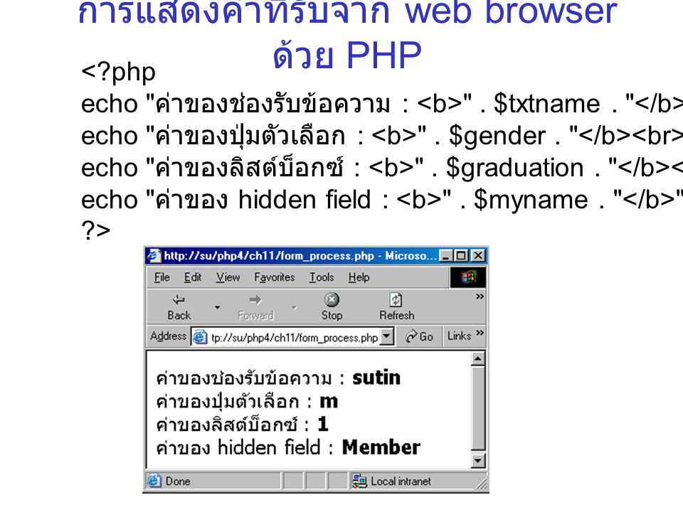 การแสดงค่าที่รับจาก web browser ด้วย PHP <?php echo ค่าของช่องรับข้อความ : .