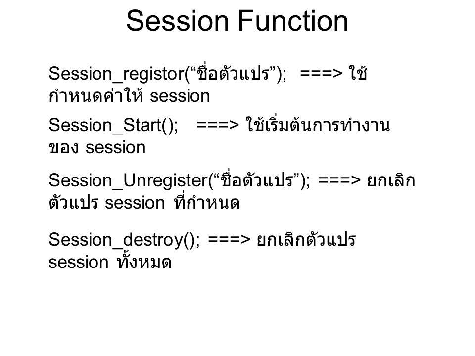Session Function Session_registor( ชื่อตัวแปร ); ===> ใช้ กำหนดค่าให้ session Session_Start(); ===> ใช้เริ่มต้นการทำงาน ของ session Session_Unregister( ชื่อตัวแปร ); ===> ยกเลิก ตัวแปร session ที่กำหนด Session_destroy(); ===> ยกเลิกตัวแปร session ทั้งหมด