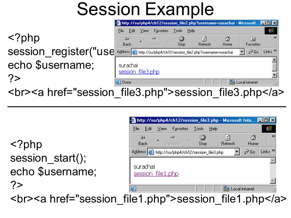 Session Example < php session_register( username ); echo $username; > session_file3.php < php session_start(); echo $username; > session_file1.php