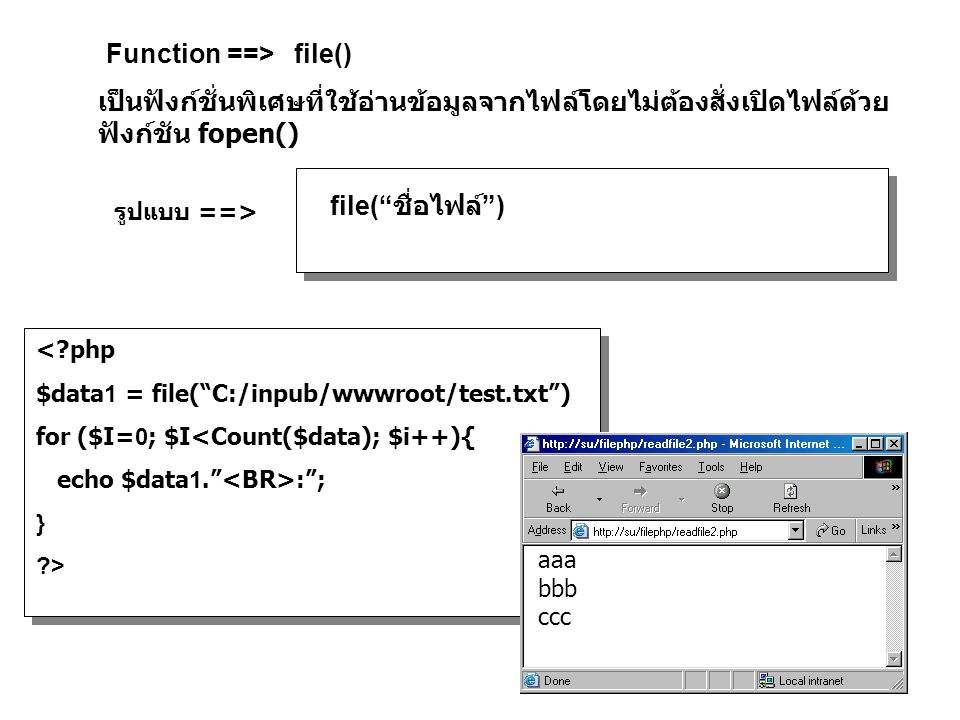 Function ==> file() เป็นฟังก์ชั่นพิเศษที่ใช้อ่านข้อมูลจากไฟล์โดยไม่ต้องสั่งเปิดไฟล์ด้วย ฟังก์ชัน fopen() file( ชื่อไฟล์ ) รูปแบบ ==> <?php $data1 = file( C:/inpub/wwwroot/test.txt ) for ($I=0; $I<Count($data); $i++){ echo $data1. : ; } ?> aaa bbb ccc
