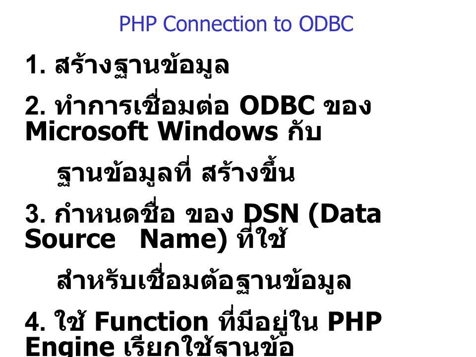 PHP Connection to ODBC 1.สร้างฐานข้อมูล 2.