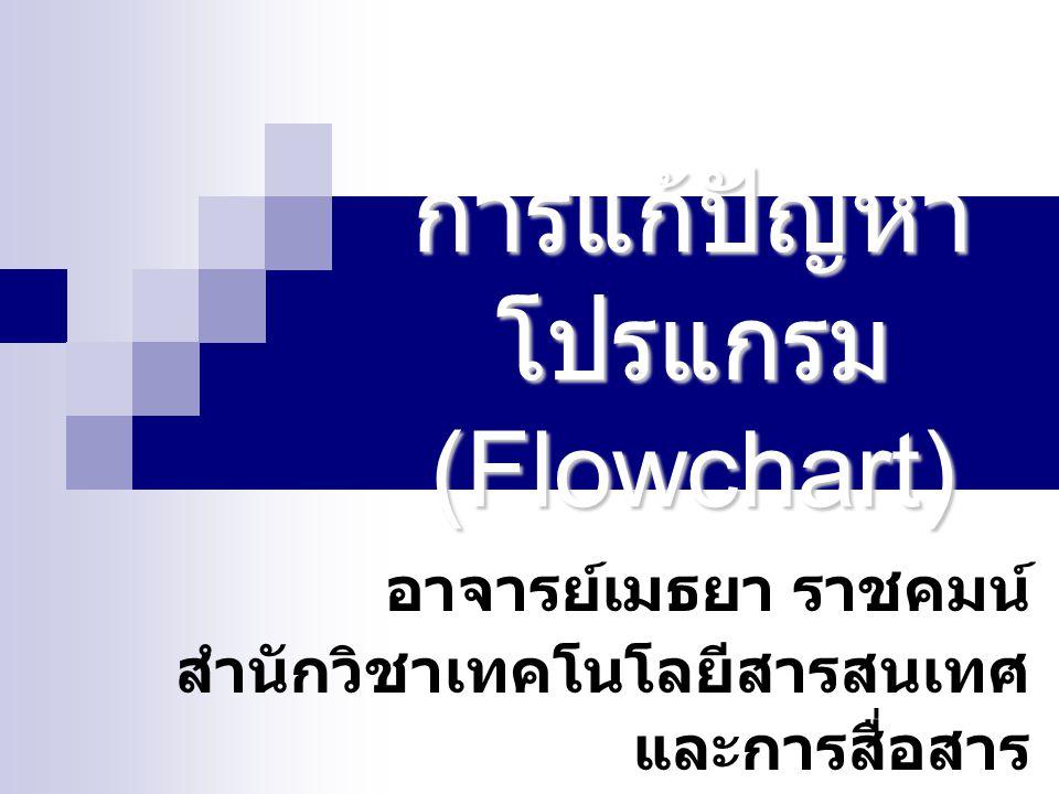 การแก้ปัญหา โปรแกรม (Flowchart) อาจารย์เมธยา ราชคมน์ สำนักวิชาเทคโนโลยีสารสนเทศ และการสื่อสาร