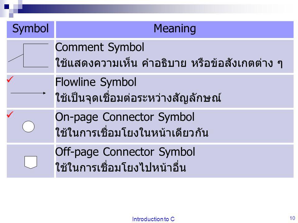 Introduction to C 10 SymbolMeaning Comment Symbol ใช้แสดงความเห็น คำอธิบาย หรือข้อสังเกตต่าง ๆ Flowline Symbol ใช้เป็นจุดเชื่อมต่อระหว่างสัญลักษณ์ On-page Connector Symbol ใช้ในการเชื่อมโยงในหน้าเดียวกัน Off-page Connector Symbol ใช้ในการเชื่อมโยงไปหน้าอื่น