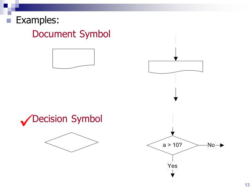 13 Examples: Document Symbol Decision Symbol