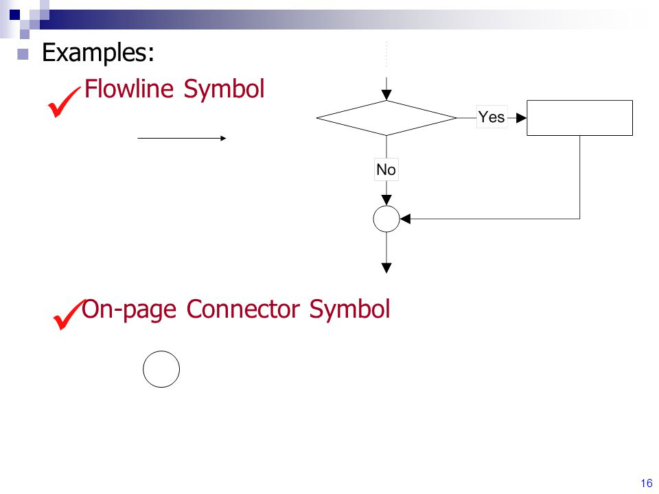16 Examples: Flowline Symbol On-page Connector Symbol