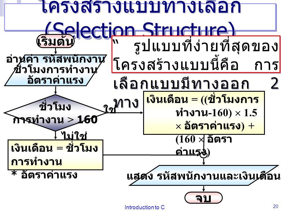 Introduction to C 20 โครงสร้างแบบทางเลือก (Selection Structure) รูปแบบที่ง่ายที่สุดของ โครงสร้างแบบนี้คือ การ เลือกแบบมีทางออก 2 ทาง เริ่มต้น อ่านค่า รหัสพนักงาน ชั่วโมงการทำงาน อัตราค่าแรง ชั่วโมง การทำงาน > 160 เงินเดือน = ชั่วโมง การทำงาน * อัตราค่าแรง แสดง รหัสพนักงานและเงินเดือน เงินเดือน = (( ชั่วโมงการ ทำงาน -160)  1.5  อัตราค่าแรง ) + (160  อัตรา ค่าแรง ) จบ ใช่ ไม่ใช่