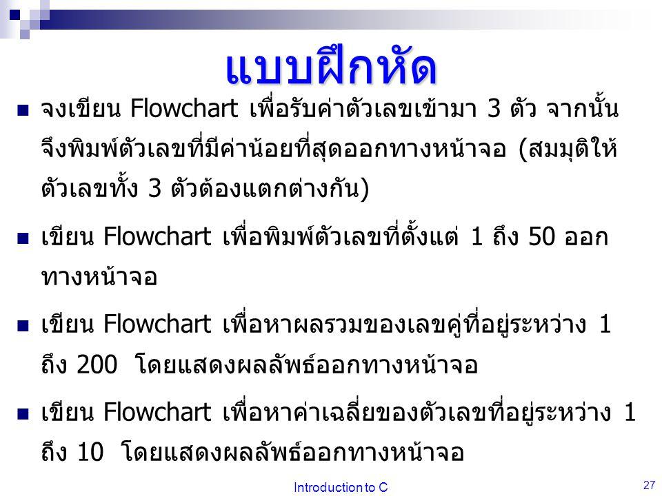 Introduction to C 27 แบบฝึกหัด จงเขียน Flowchart เพื่อรับค่าตัวเลขเข้ามา 3 ตัว จากนั้น จึงพิมพ์ตัวเลขที่มีค่าน้อยที่สุดออกทางหน้าจอ (สมมุติให้ ตัวเลขทั้ง 3 ตัวต้องแตกต่างกัน) เขียน Flowchart เพื่อพิมพ์ตัวเลขที่ตั้งแต่ 1 ถึง 50 ออก ทางหน้าจอ เขียน Flowchart เพื่อหาผลรวมของเลขคู่ที่อยู่ระหว่าง 1 ถึง 200 โดยแสดงผลลัพธ์ออกทางหน้าจอ เขียน Flowchart เพื่อหาค่าเฉลี่ยของตัวเลขที่อยู่ระหว่าง 1 ถึง 10 โดยแสดงผลลัพธ์ออกทางหน้าจอ