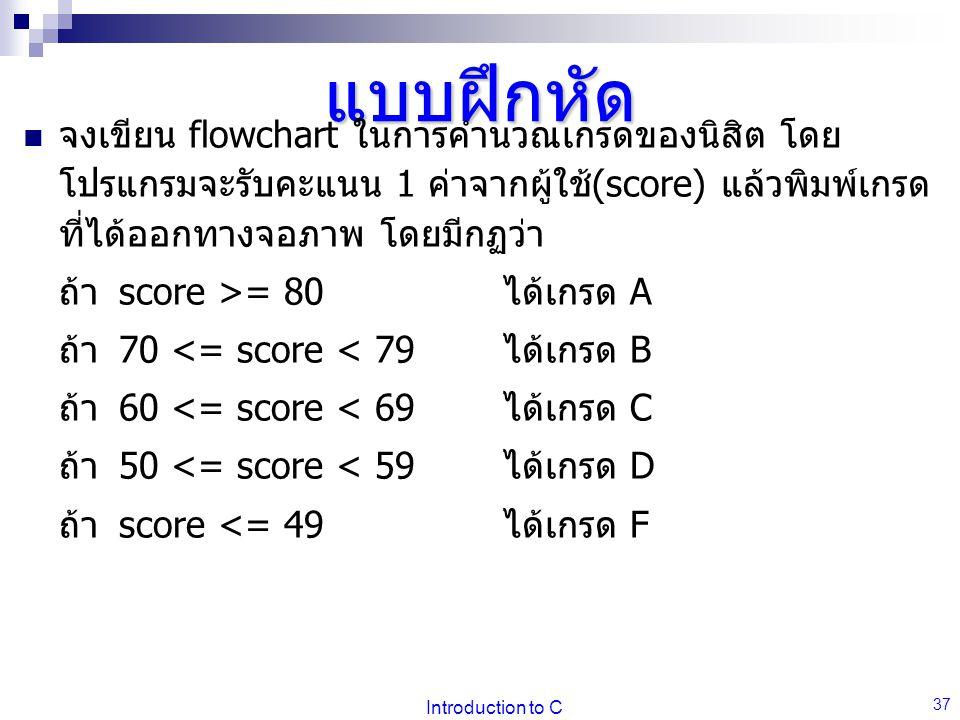 Introduction to C 37 แบบฝึกหัด จงเขียน flowchart ในการคำนวณเกรดของนิสิต โดย โปรแกรมจะรับคะแนน 1 ค่าจากผู้ใช้(score) แล้วพิมพ์เกรด ที่ได้ออกทางจอภาพ โดยมีกฏว่า ถ้าscore >= 80 ได้เกรด A ถ้า70 <= score < 79 ได้เกรด B ถ้า60 <= score < 69 ได้เกรด C ถ้า50 <= score < 59 ได้เกรด D ถ้าscore <= 49 ได้เกรด F