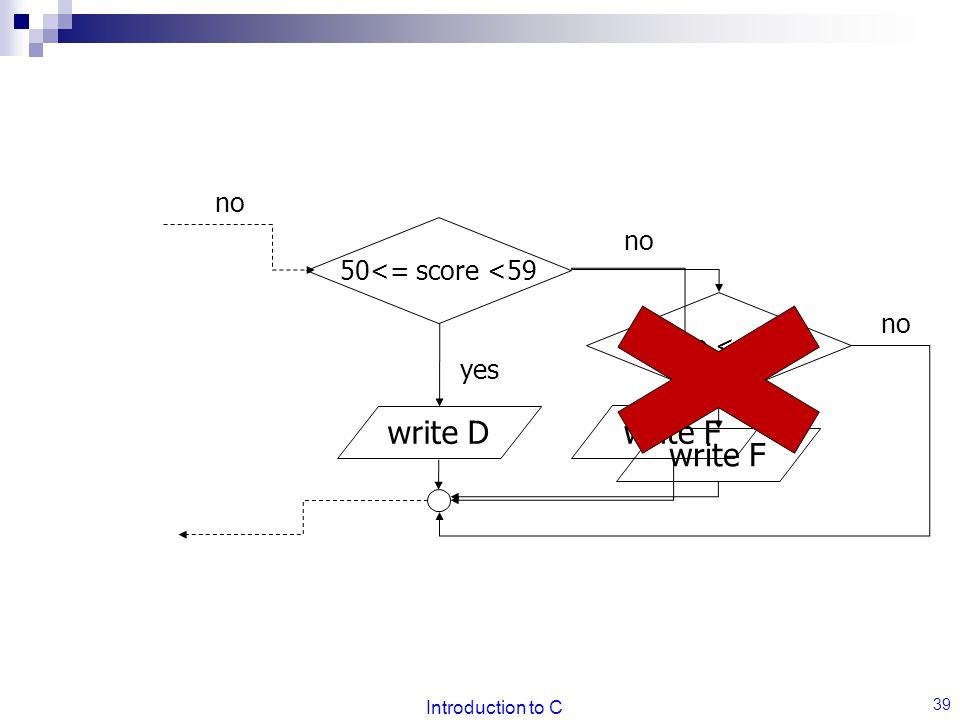 Introduction to C 39 50<= score <59 no write D yes write F no score <= 49 write F no