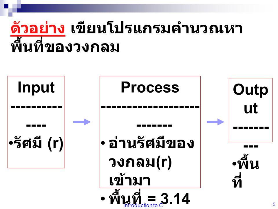 Introduction to C 5 Input ---------- ---- รัศมี (r) Process ------------------- ------- อ่านรัศมีของ วงกลม (r) เข้ามา พื้นที่ = 3.14 * r * r จัดพิมพ์ออก Outp ut ------- --- พื้น ที่ ตัวอย่าง เขียนโปรแกรมคำนวณหา พื้นที่ของวงกลม