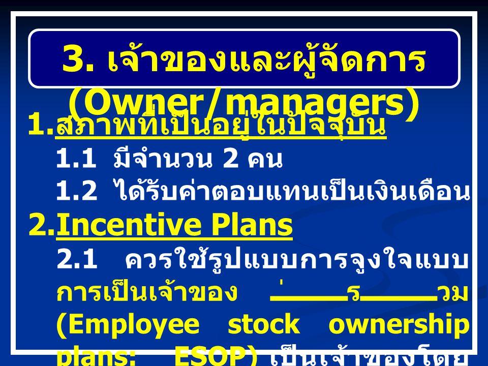 3. เจ้าของและผู้จัดการ (Owner/managers) 1. สภาพที่เป็นอยู่ในปัจจุบัน 1.1 มีจำนวน 2 คน 1.2 ได้รับค่าตอบแทนเป็นเงินเดือน 2.Incentive Plans 2.1 ควรใช้รูป