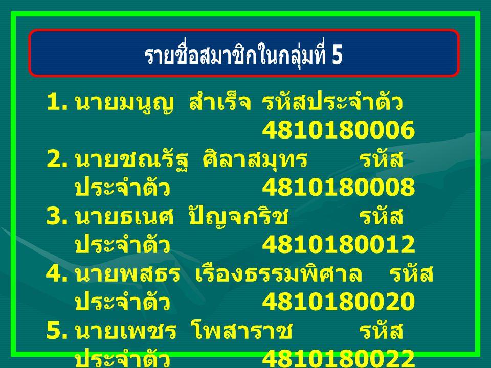 1. นายมนูญ สำเร็จ รหัสประจำตัว 4810180006 2. นายชณรัฐ ศิลาสมุทร รหัส ประจำตัว 4810180008 3. นายธเนศ ปัญจกริช รหัส ประจำตัว 4810180012 4. นายพสธร เรือง