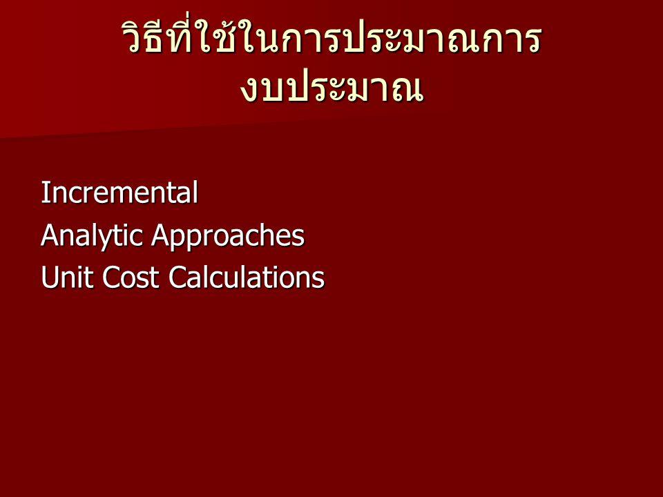 วิธีที่ใช้ในการประมาณการ งบประมาณ Incremental Analytic Approaches Unit Cost Calculations