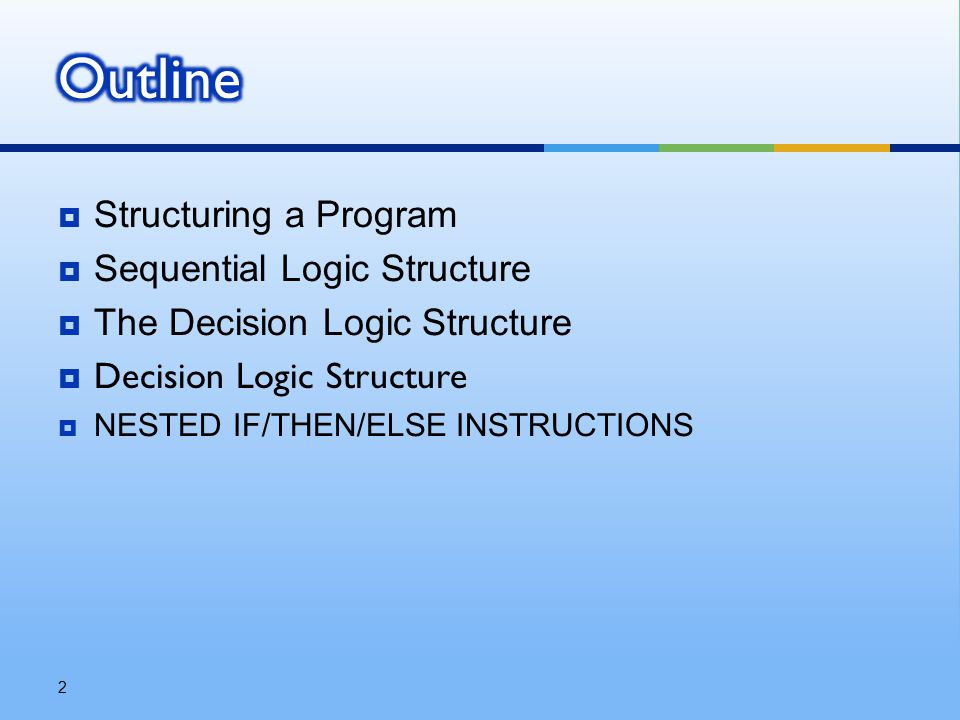  Structuring a Program  Sequential Logic Structure  The Decision Logic Structure  Decision Logic Structure  NESTED IF/THEN/ELSE INSTRUCTIONS 2