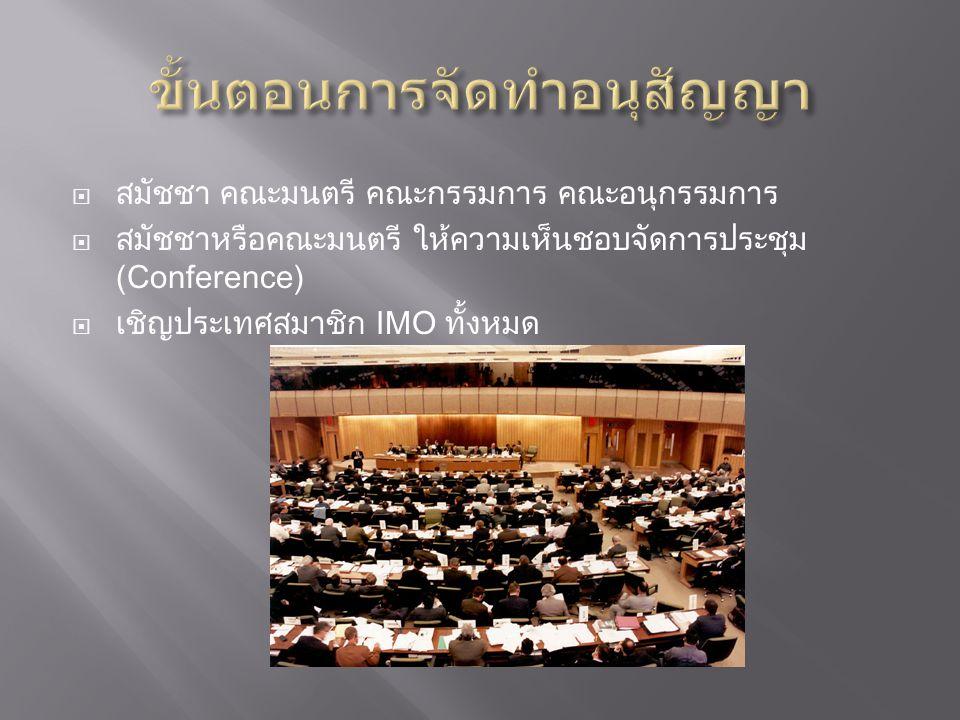  สมัชชา คณะมนตรี คณะกรรมการ คณะอนุกรรมการ  สมัชชาหรือคณะมนตรี ให้ความเห็นชอบจัดการประชุม (Conference)  เชิญประเทศสมาชิก IMO ทั้งหมด