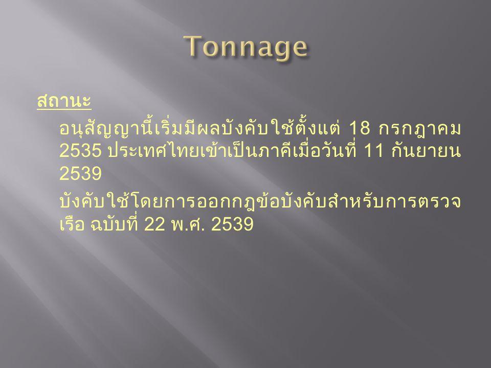 สถานะ อนุสัญญานี้เริ่มมีผลบังคับใช้ตั้งแต่ 18 กรกฎาคม 2535 ประเทศไทยเข้าเป็นภาคีเมื่อวันที่ 11 กันยายน 2539 บังคับใช้โดยการออกกฎข้อบังคับสำหรับการตรวจ เรือ ฉบับที่ 22 พ.ศ.