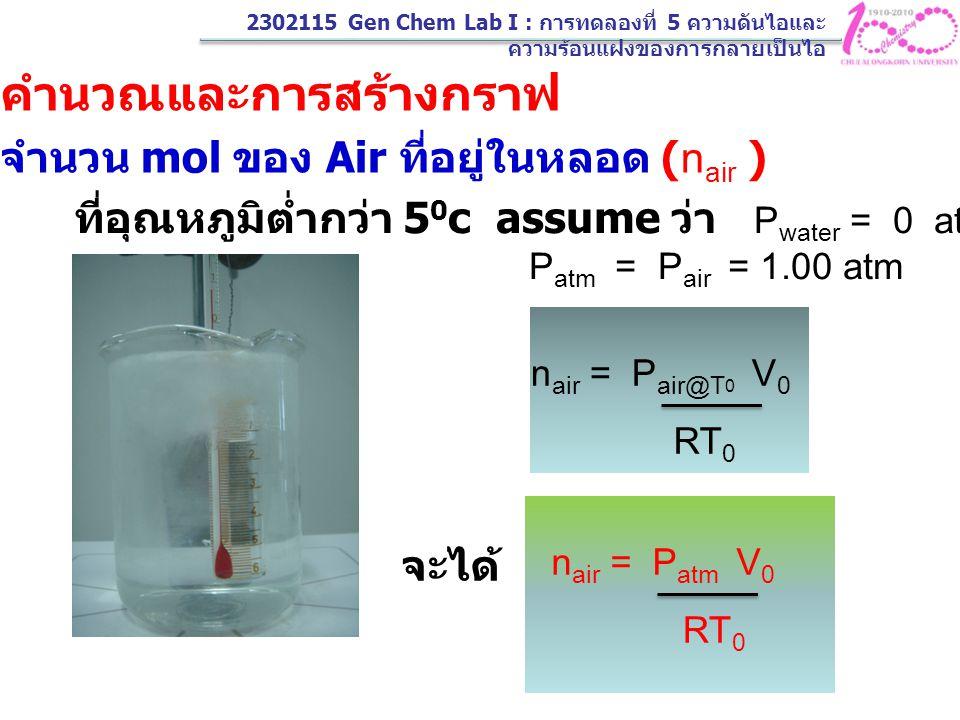 2302115 Gen Chem Lab I : การทดลองที่ 5 ความดันไอและ ความร้อนแฝงของการกลายเป็นไอ การคำนวณและการสร้างกราฟ 1. หาจำนวน mol ของ Air ที่อยู่ในหลอด (n air )
