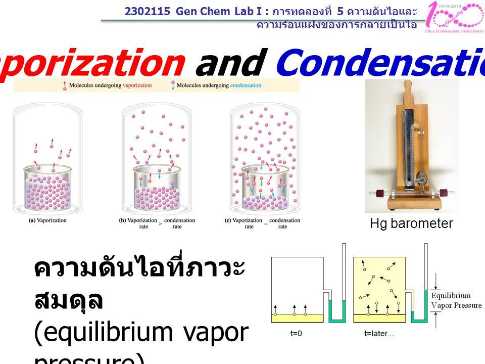 2302115 Gen Chem Lab I : การทดลองที่ 5 ความดันไอและ ความร้อนแฝงของการกลายเป็นไอ 3.