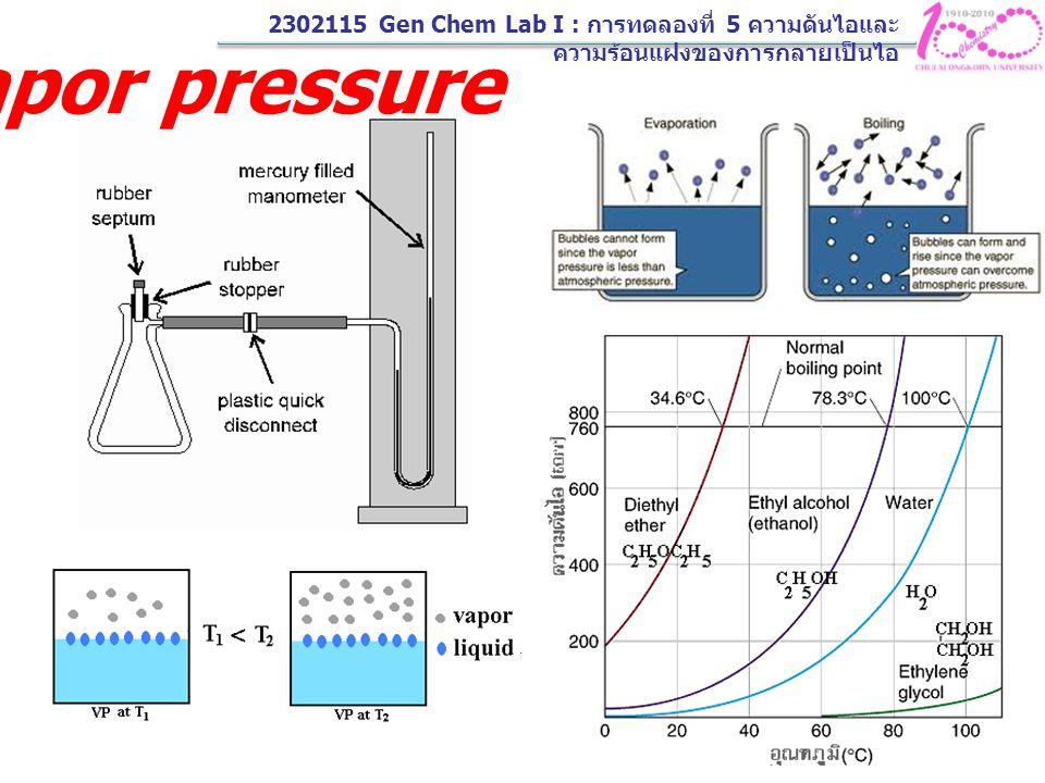 Vapor pressure 2302115 Gen Chem Lab I : การทดลองที่ 5 ความดันไอและ ความร้อนแฝงของการกลายเป็นไอ