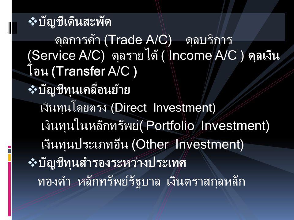  บัญชีเดินสะพัด ดุลการค้า (Trade A/C) ดุลบริการ (Service A/C) ดุลรายได้ ( Income A/C ) ดุลเงิน โอน (Transfer A/C )  บัญชีทุนเคลื่อนย้าย เงินทุนโดยตร