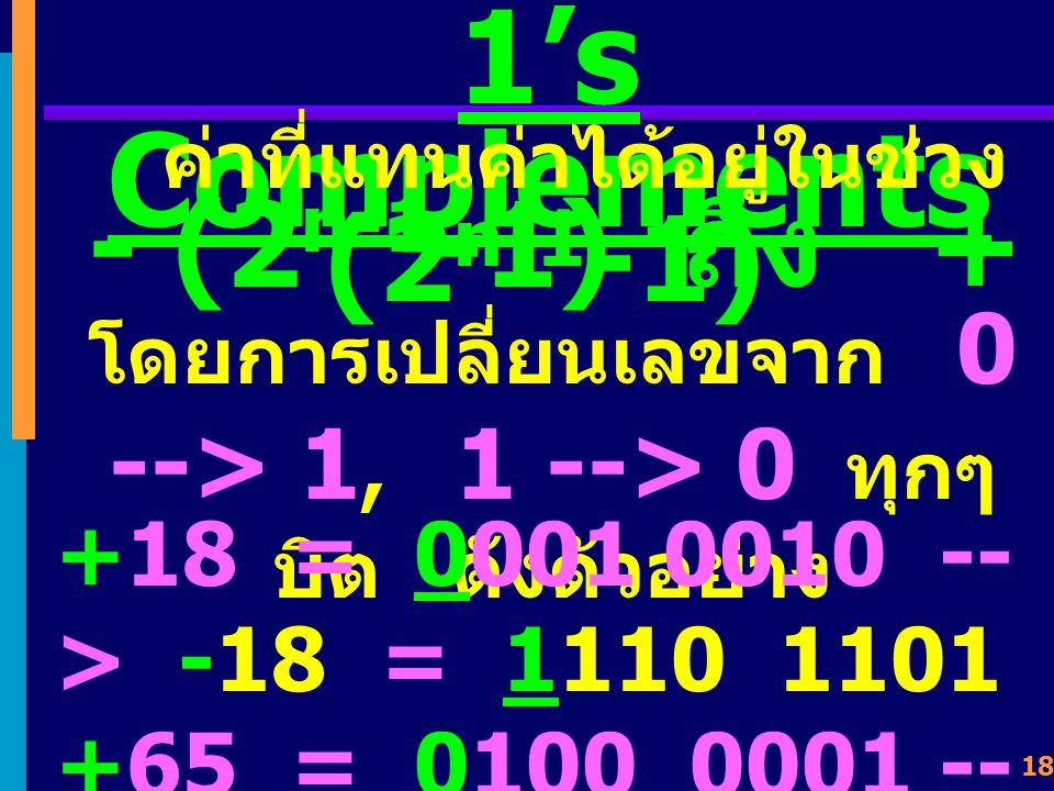 17 1's Complements เป็นการลบค่าออกจาก 2 n -1 (n = data-bits) n = 4 1's Complements ของ 0011 คือ 2 n - 1 = 2 4 - 1 = 16 - 1 = 15 1 1 1 1 0 0 1 1 1 1 0 0 จะได้ว่า ค่าเต็ม เป็น 1111 ค่าสูงสุดที่แทนค่าได้ของ เลขสี่หลั ก ค่าตัวเลขบวกที่ต้องการ หาเลขลบ ค่าตัวเลขลบที่ได้โดยวิธี 1's Complement