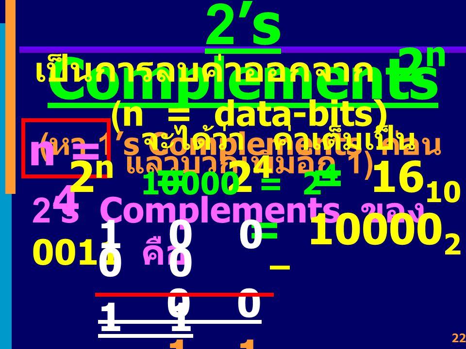 21 ปัญหาการแทน ค่า + 0 กับ - 0 + 0 แทนด้วย 0000 0000 - 0 แทนด้วย 1111 1111